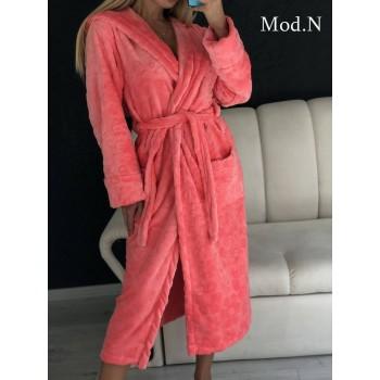 Женский домашний халат с капюшоном Розовый с Цветами фото 10