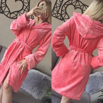 Женский домашний халат с капюшоном Розовый с Цветами фото 5