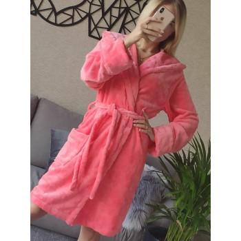 Женский домашний халат с капюшоном Розовый с Цветами фото 1