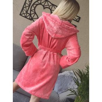 Женский домашний халат с капюшоном Розовый с Цветами фото 2