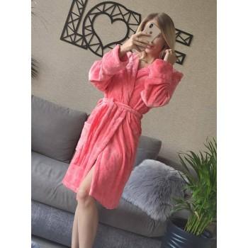 Женский домашний халат с капюшоном Розовый с Цветами фото 3