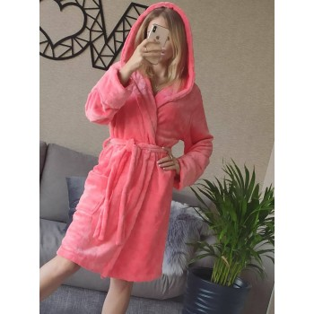 Женский домашний халат с капюшоном Розовый с Цветами фото 4
