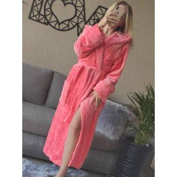 Женский домашний халат с капюшоном Розовый с Цветами фото 7