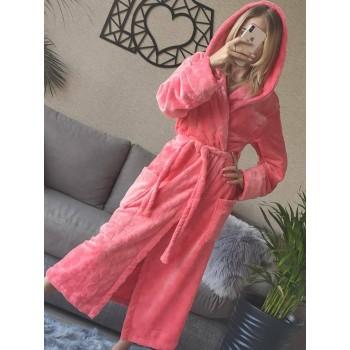 Женский домашний халат с капюшоном Розовый с Цветами фото 12