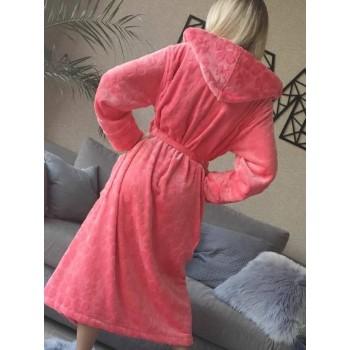 Женский домашний халат с капюшоном Розовый с Цветами фото 8