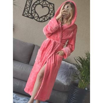 Женский домашний халат с капюшоном Розовый с Цветами фото 13