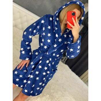 Женский халат с капюшоном Синие Звезды фото 1