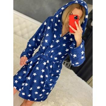 Женский халат с капюшоном Синие Звезды фото 2