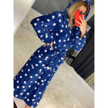 Женский халат с капюшоном Синие Звезды фото 3