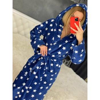 Женский халат с капюшоном Синие Звезды фото 4