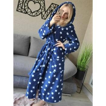 Женский халат с капюшоном Синие Звезды фото 5