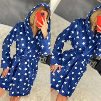 Женский халат с капюшоном Синие Звезды фото 6