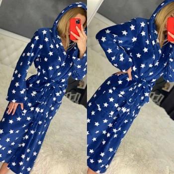 Женский халат с капюшоном Синие Звезды фото 7