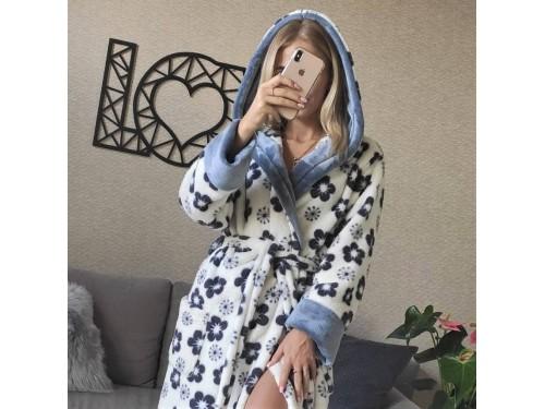 Женский халат с капюшоном Серые Цветы 2182 от Modnyashka в интернет-магазине PannaTeks