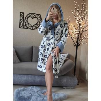 Женский халат с капюшоном Серые Цветы фото 1