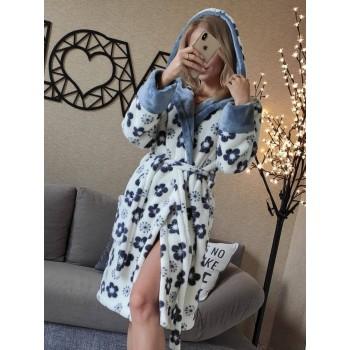 Женский халат с капюшоном Серые Цветы фото 2