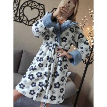 Женский халат с капюшоном Серые Цветы фото 4