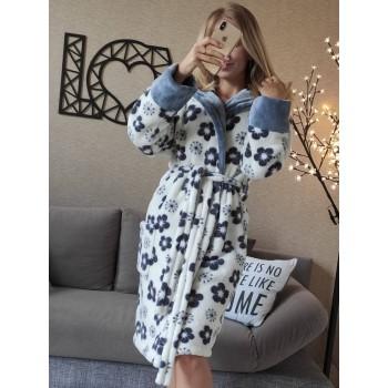 Женский халат с капюшоном Серые Цветы фото 6