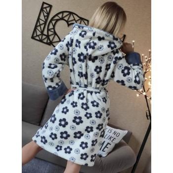 Женский халат с капюшоном Серые Цветы фото 5