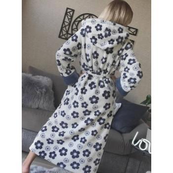 Женский халат с капюшоном Серые Цветы фото 8