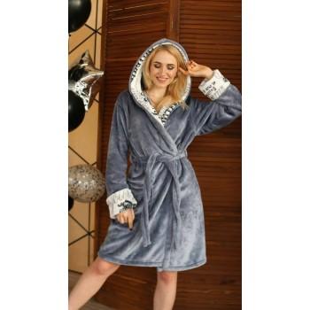 Женский халат с капюшоном Серый с Надписями микрофибра фото 3