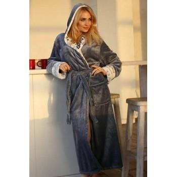 Женский халат с капюшоном Серый с Надписями микрофибра фото 8