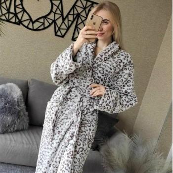 Халат женский батал 52-54 (XXL) Светлый Лео микрофибра 2188 от Modnyashka в интернет-магазине PannaTeks