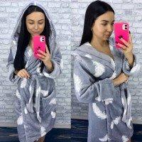 Женский теплый домашний халат велсофт Перышки