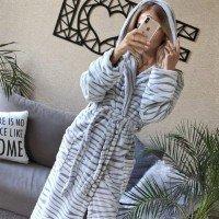 Женский теплый домашний халат велсофт Шиншилла