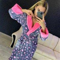Женский теплый домашний халат велсофт Звезды