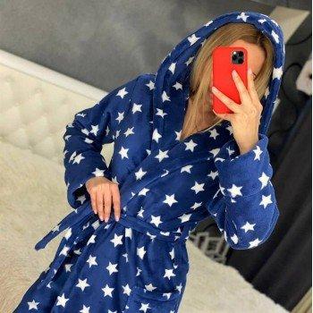 Женский халат с капюшоном Синие Звезды