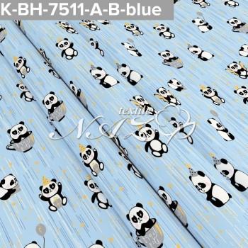 Детское постельное белье бязь Маленькие Пандочки 7511голубые фото 1
