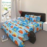 Детское постельное белье бязь Тачки 7338 голубой