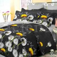 Постельное белье бязь с компаньоном Одуванчики на черном