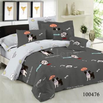 Набор постельного белья Песики на Сером бязь люкс
