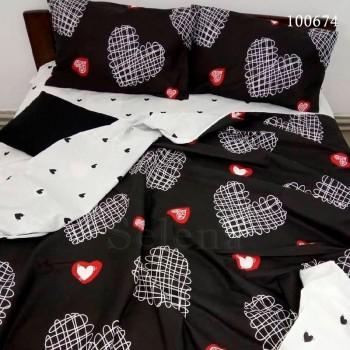 Постельное белье бязь с компаньоном Рисованные Сердечки на Черном 100674 от Selena в интернет-магазине PannaTeks
