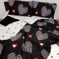 Постельное белье бязь с компаньоном Рисованные Сердечки на Черном