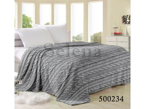 "Плед велсофт ""Косичка Grey"" 500234 от Selena в интернет-магазине PannaTeks"
