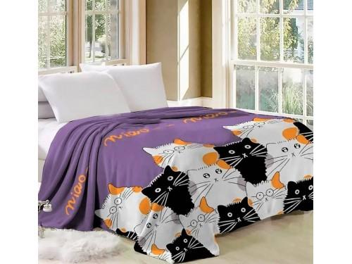 Плед велсофт Кошачий Хор фиолетовый 500307 от Selena в интернет-магазине PannaTeks