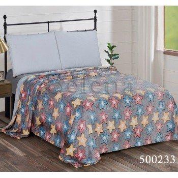 Детский плед велсофт на кровать Звездочки Цветные