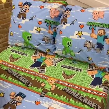 """Детское постельное белье бязь голд """"Игра Minecraft"""" фото 1"""