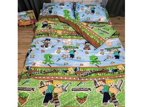 """Детское постельное белье бязь голд """"Игра Minecraft"""" 110346 от Selena в интернет-магазине PannaTeks"""