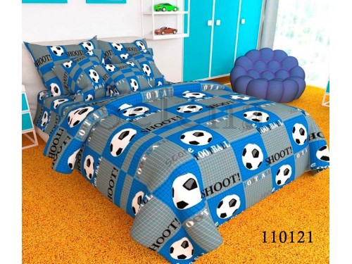 """Комплект подростковый бязь """"Футбольный мяч Blue"""" 110121 от Selena в интернет-магазине PannaTeks"""