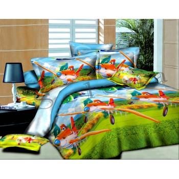 Детское постельное белье для мальчика ранфорс Тачки-летачки
