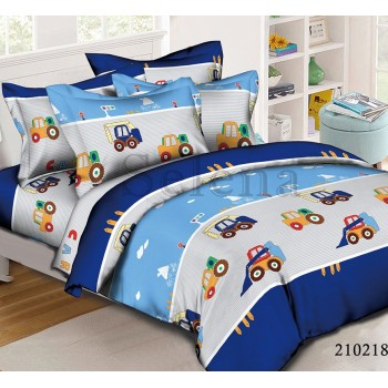 Детское постельное белье для мальчика ранфорс Грузовики