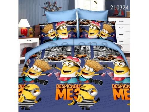Детское постельное белье ранфорс Миньоны 210324 от Selena в интернет-магазине PannaTeks