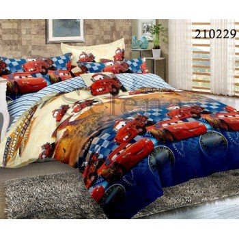 Детское постельное белье для мальчика ранфорс Гонки