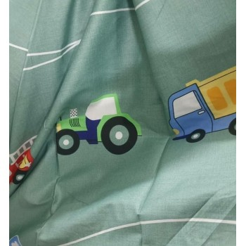 Детское постельное белье для мальчика сатин Машинки Цветные фото 1