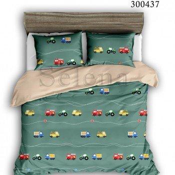 Детское постельное белье для мальчика сатин Машинки Цветные