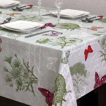 Тефлоновая скатерть на кухонный стол с бабочками и цветами 710104